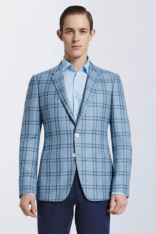 Modern Light Blue Plaid Suit Blazer Jacket Casual for Prom