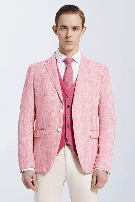 Fashionable Pink Casual Linen Blazer Jacket for Prom