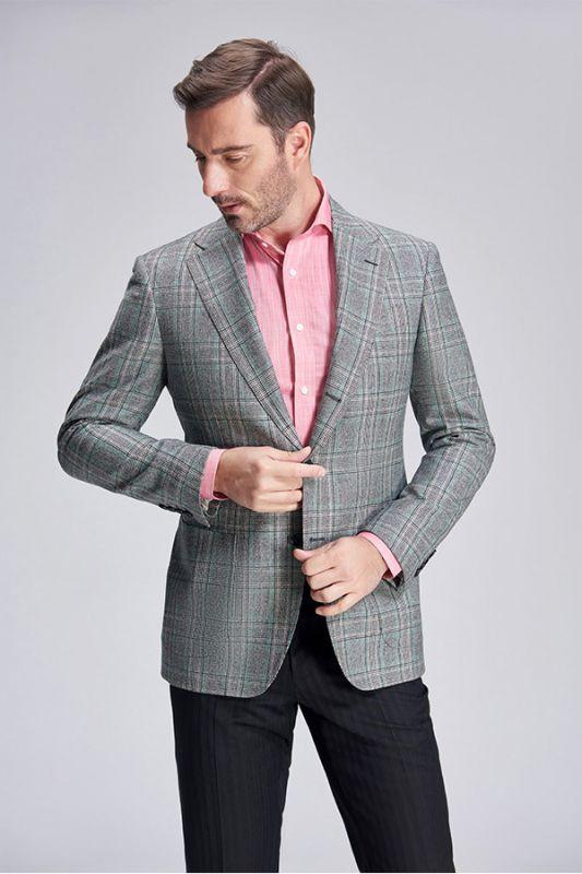 Casual Green Plaid Patch Pocket Grey Mens Business Suit Blazer Jacket