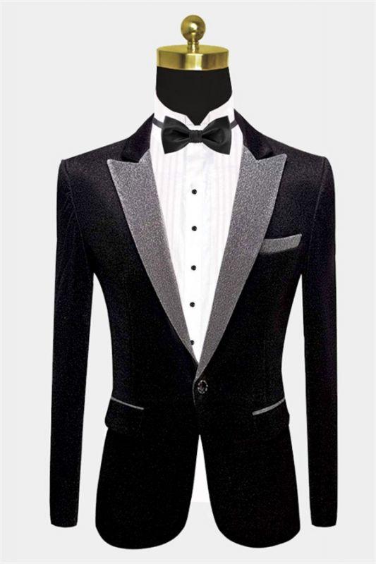 Glamorous Black Sequin Blazer | Peak Lapel One Button Men Suits