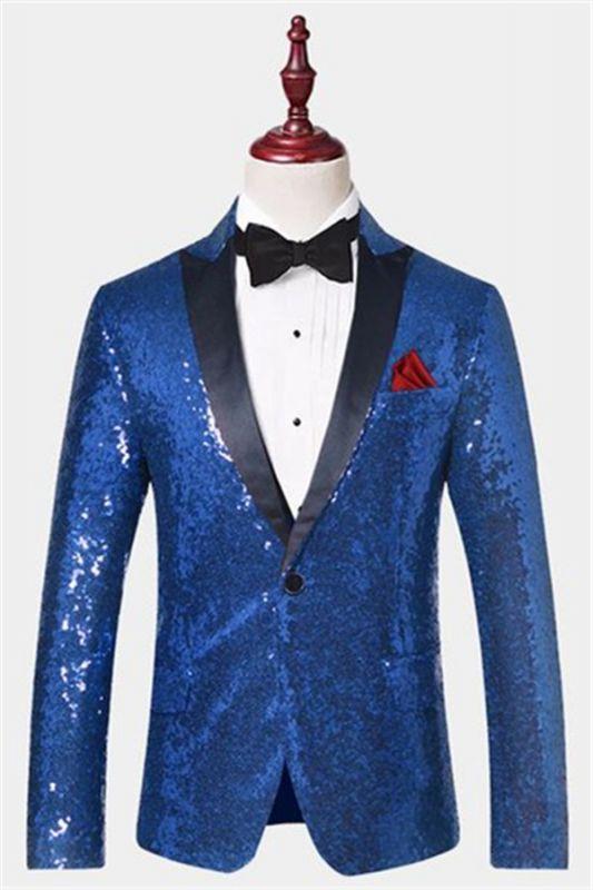Royal Blue Sequin Men Suits | One Piece Cheap Blazer with Peak Lapel