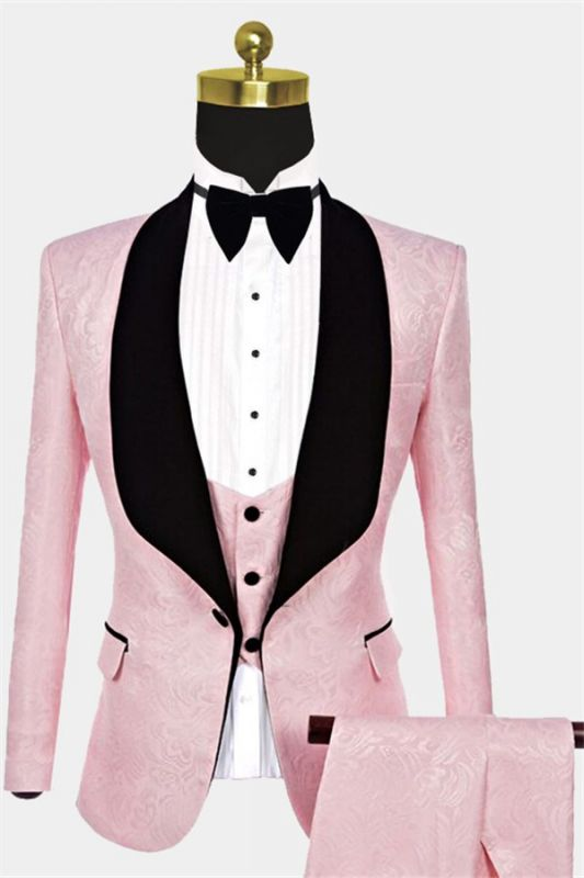 Unique Pink Jacquard Tuxedo Online | Tailored Prom Suits for Guys