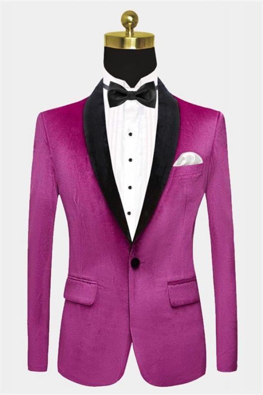 Magenta Pink Velvet Tuxedo Jacket | One Piece Blazer for Men