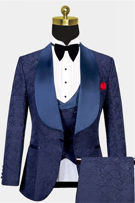 Navy Blue Three Pieces Tuxedo Online| Jacquard Bespoke Men Suits