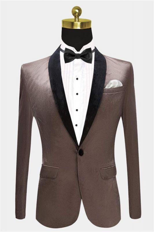 Grey Velvet Blazer Jacket for Prom | Slim Fit Casual Blazer for Men