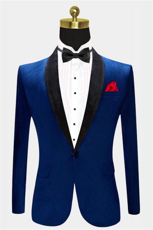 Blue Velvet Blazer for Men | One Piece Shawl Lapel Tuxedo