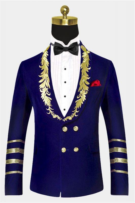 Royal Blue Blazer for Men | Gold Embroidered Lapel Velvet Jacket
