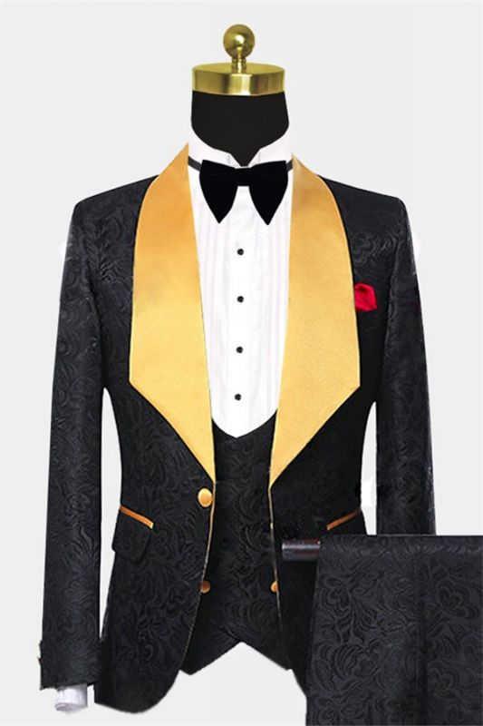 Black Jacquard Tuxedo with Gold Shawl Lapel | Custom Made Three Pieces Men Suits