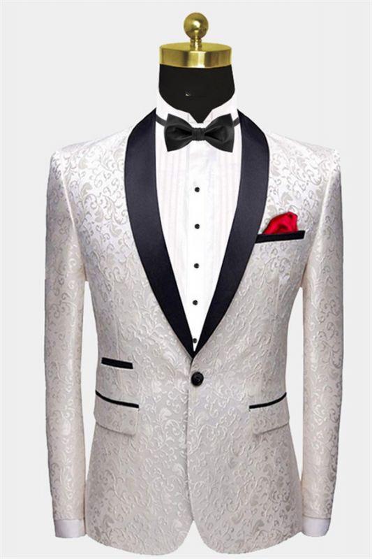 White Jacqard Wedding Men Suits | Slim Fit Dinner Blazer