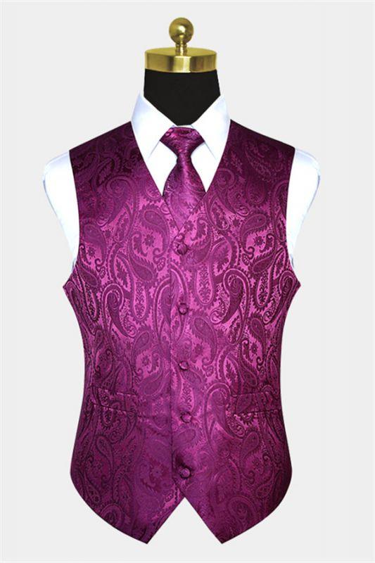 New Arrival Silk Magenta Purple Men Vest