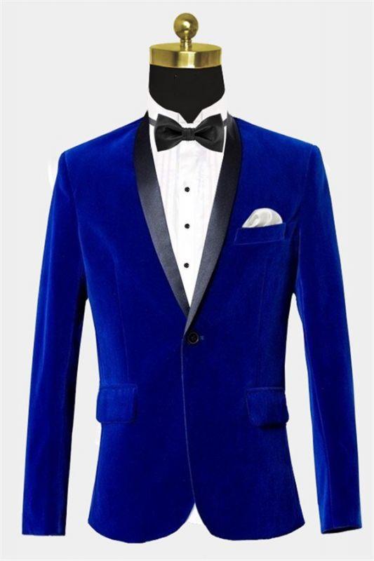 Royal Blue Velvet Tuxedo Jacket | Shawl Lapel Prom Suits Online