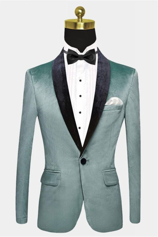 Turquoise Velvet Tuxedo Jacket | Cheap One Button Prom Blazer