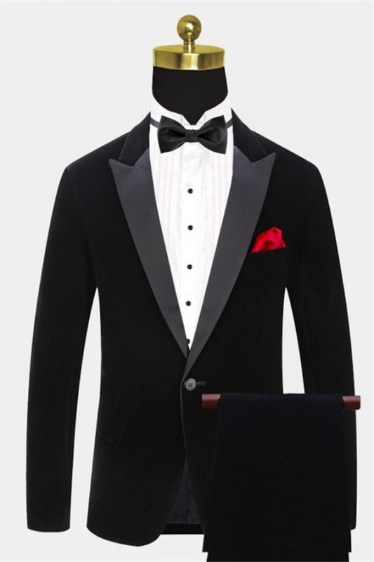 Black Velvet Men Suits Online | Custom Peak Lapel Blazer with One Button
