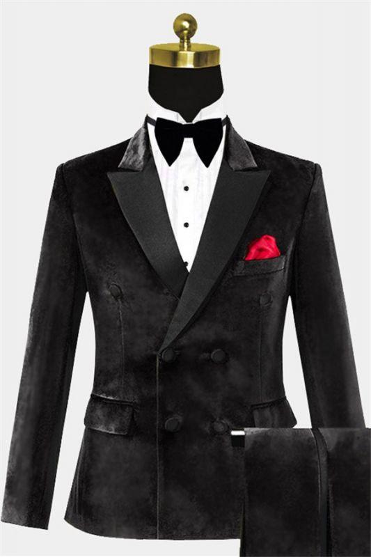 Custom Double Breasted Velvet Tuxedo| Black Peak Lapel Men Suits