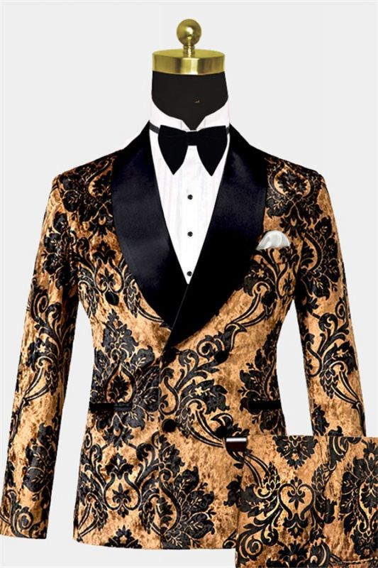 Tailored Gold Velvet Damask Tuxedo | Double Breasted Shawl Lapel Men suits for Prom