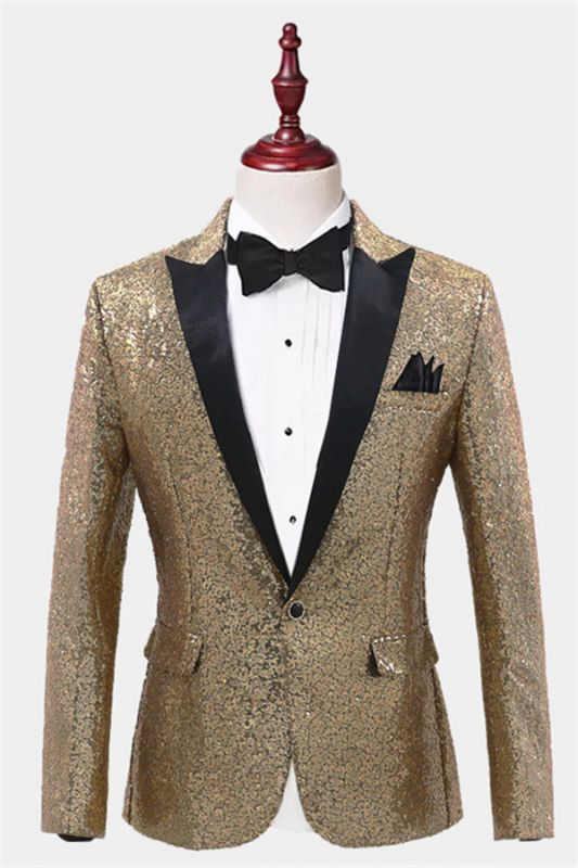 Sparkly Gold Sequin Tuxedo Blazer | Men Suits for Prom