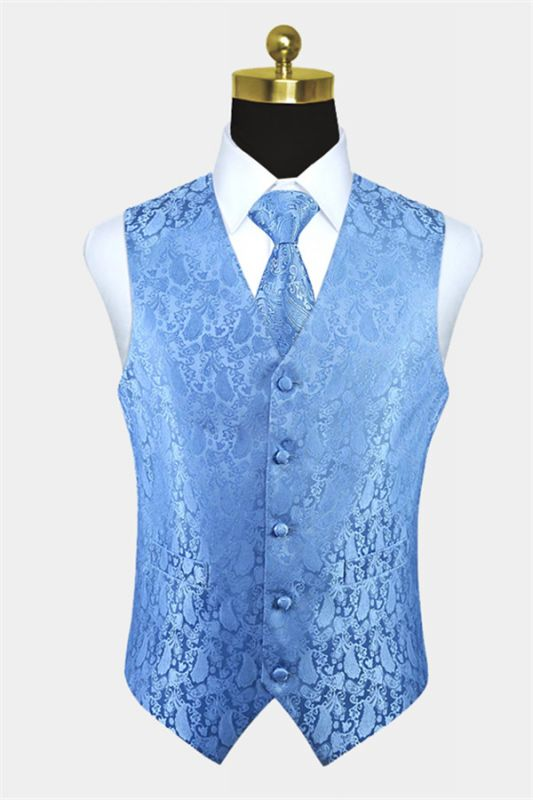 Light Blue Party Prom Paisley Mens Waistcoat with Tie Set