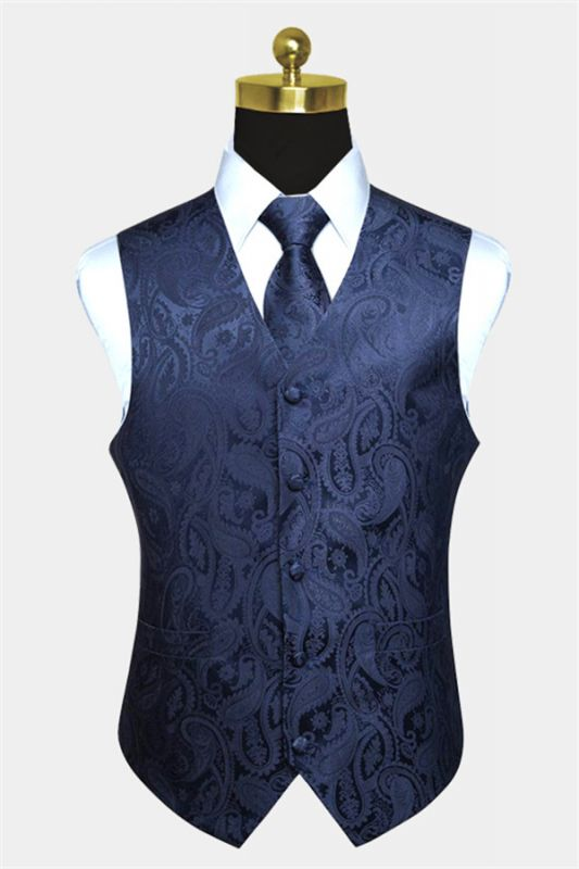 Silk Navy Blue Paisley Vest with Tie Set