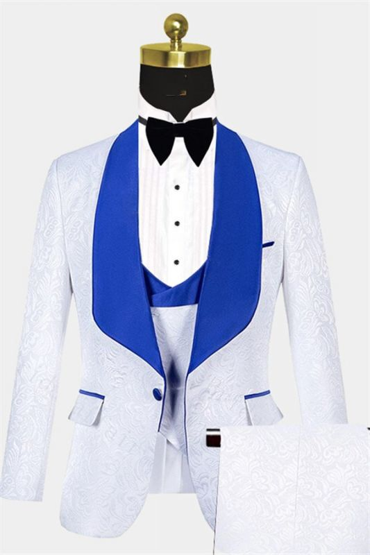 White Jacquard Tuxedo with Blue Shawl Lapel | Custom Three Pieces Suits Sale