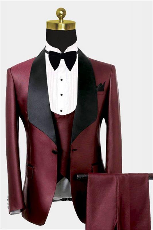 Fashion Burguny Three Pieces Men Suits   Black Shawl Lapel Tuxedo Online