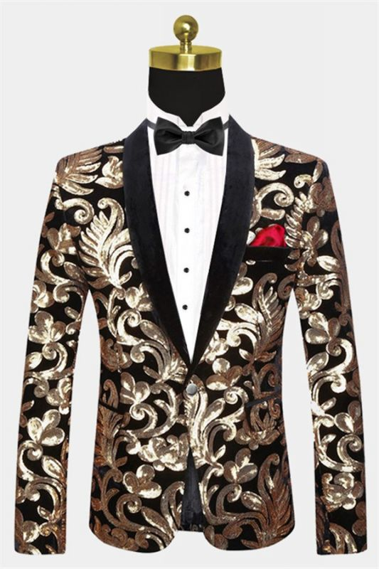 Black and Gold Blazer with Sequins | Cheap Slim Fit Prom Tuxedo