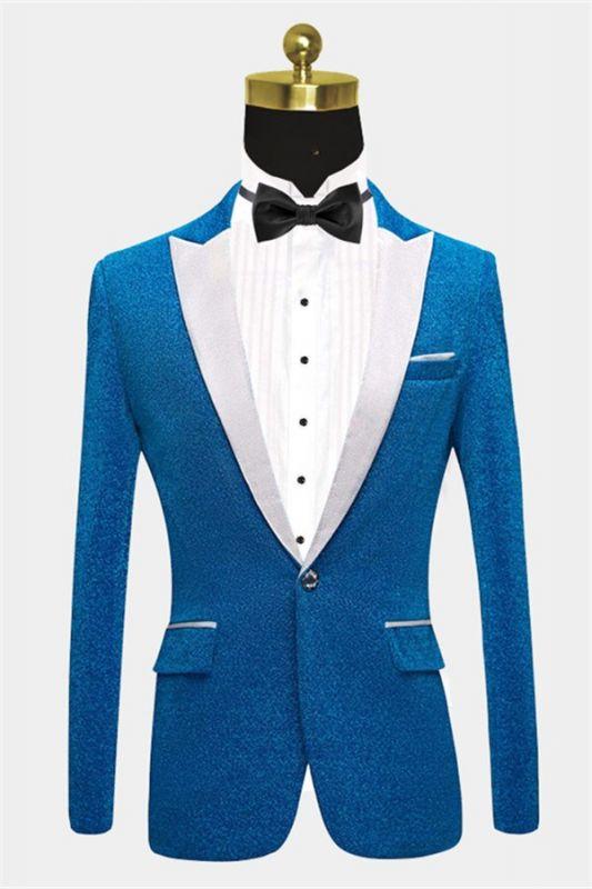 Glitter Baby Blue Peak Lapel Blazer | Unique Sequin Men Suits Cheap Online