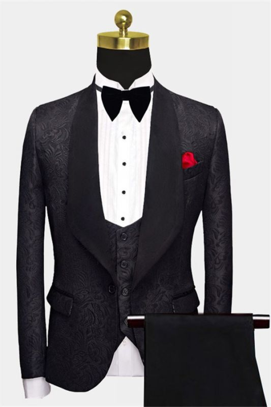 Business Black Men Suits | Formal Three Pieces Jacquard Wedding Suits