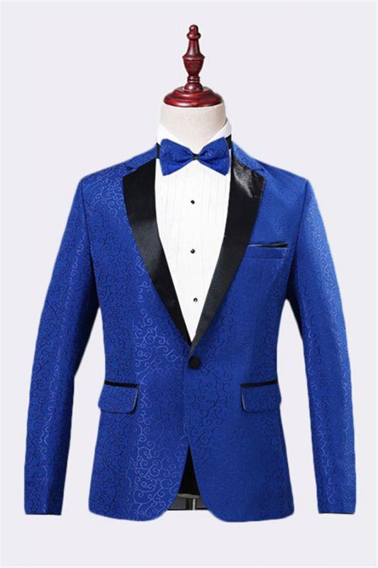 Royal Blue Jacquard Tuxedo Jacket | Stylish Slim Fit Blazer for Men