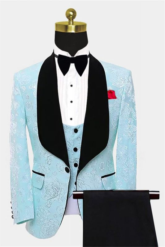 Floral Turquoise Tuxedo with Shawl Lapel | Tailored Three Pieces Prom Suits