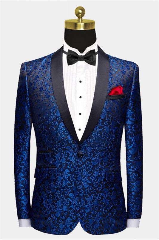 Blue Jacquard Tuxedo Jacket Online | Bespoke Slim Fit Men Suits for Prom