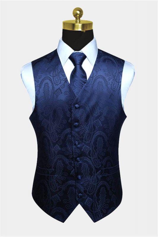 Navy Blue Paisley Prom Suits Mens Vest Set