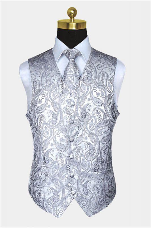 Silver Paisley Vest Set   Bespoke PromMens Vest