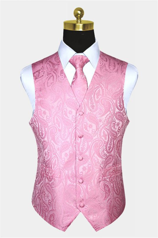 Fashion Silk Light Pink Paisley Mens Vest for Prom Online