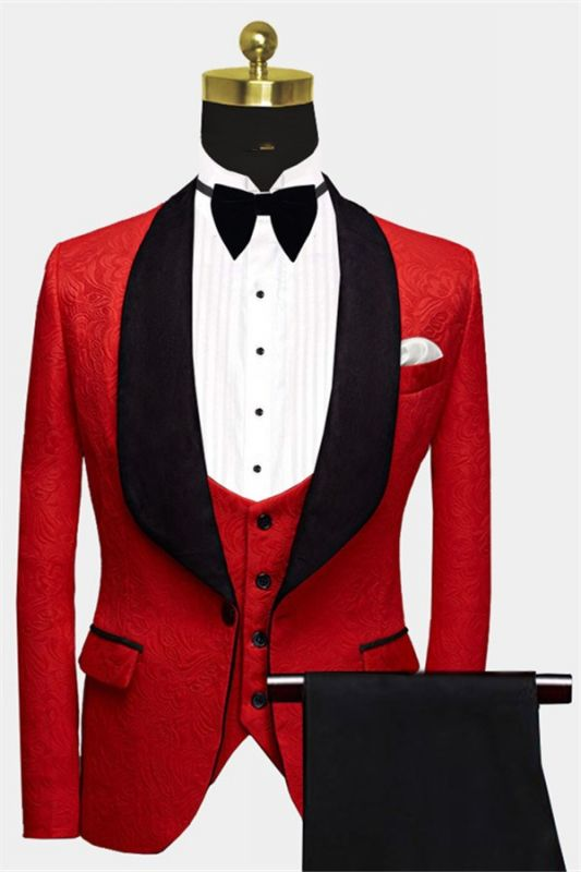 Fashion Red Floral Tuxedo | Bespoke three Pieces Men Suits with Black Lapel