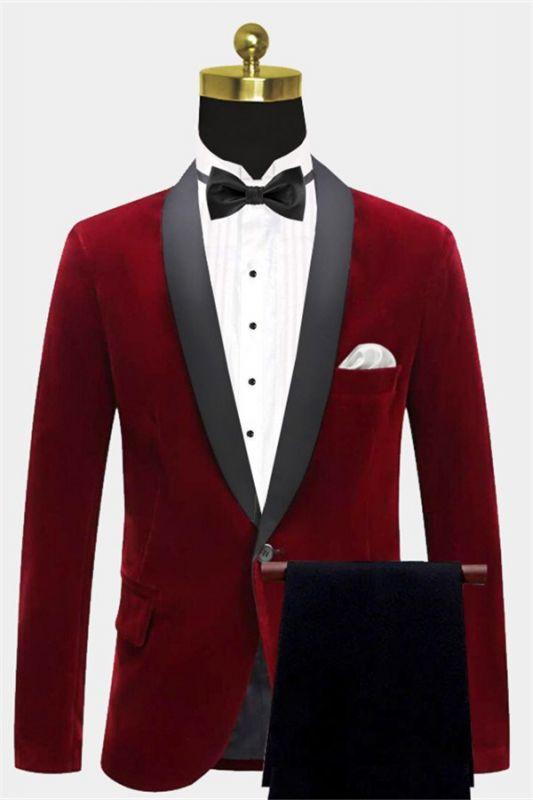 Burgundy Velvet Blazer Jacket | Two Pieces Shawl Lapel Men Suits
