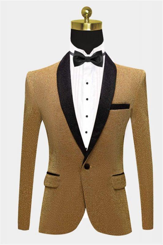 Glitter Sequin Blazer for Men | Custom Gold Men Suits for Prom