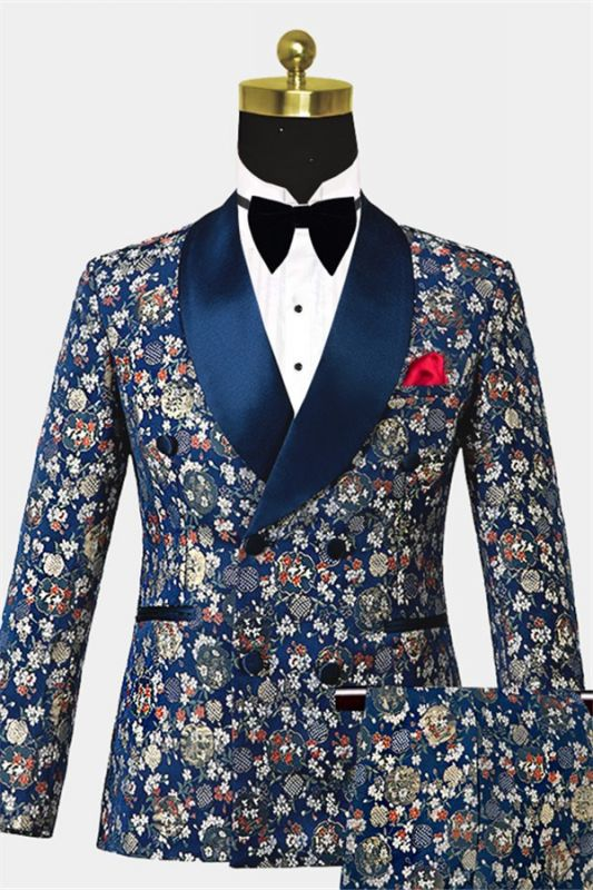 Double Breasted Navy Blue Men Suits for Prom | Floral Tuxedo with 3 Pieces