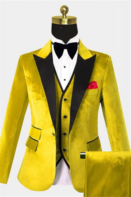 Yellow Velvet Tuxedo for Men | Three Pieces Slim Fit Prom Suits