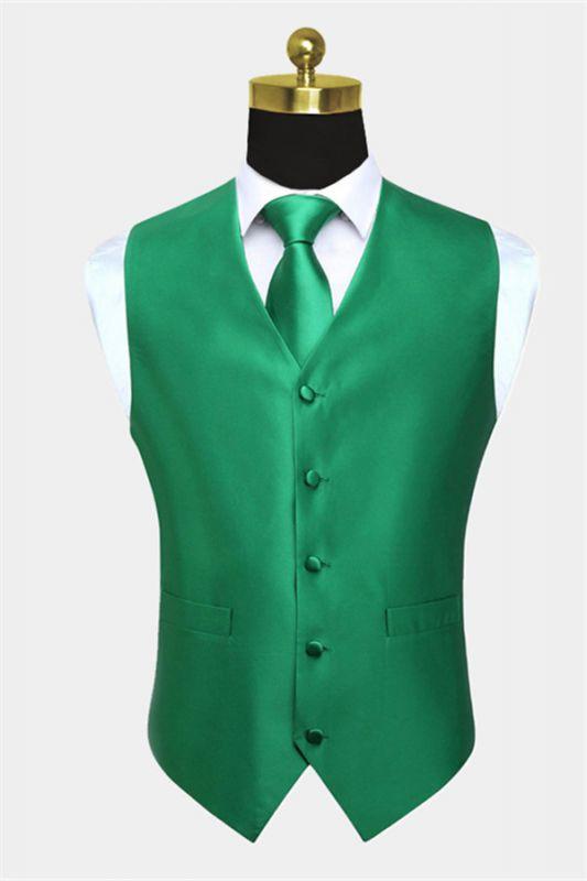 Silk Emerald Green Waistcoat And Tie Set