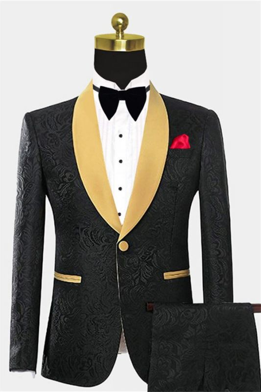 Black Two Pieces Prom Suits | Jacquard Tuxedo with One Button