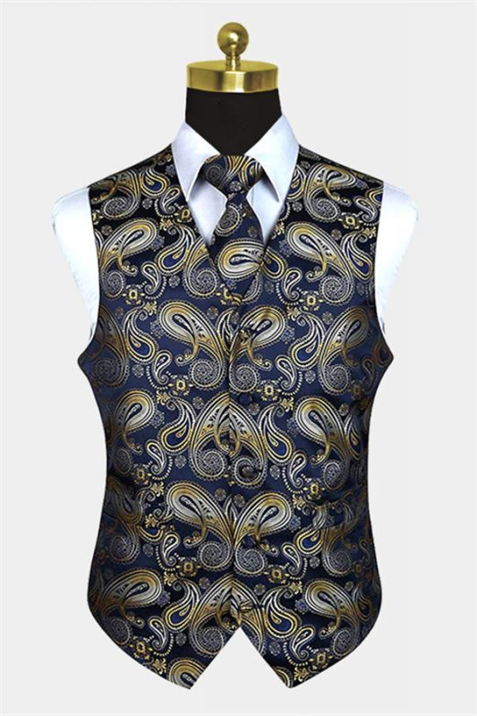 Tailored Navy Blue And Gold Paisley Prom Men Suits Vest Set
