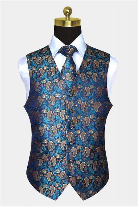 Teal Blue Paisley Mens Suit Prom Vest Set Online