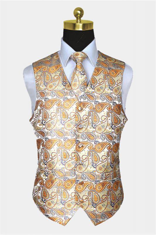 Cheap Gold Paisley Mens Dress Vest Set