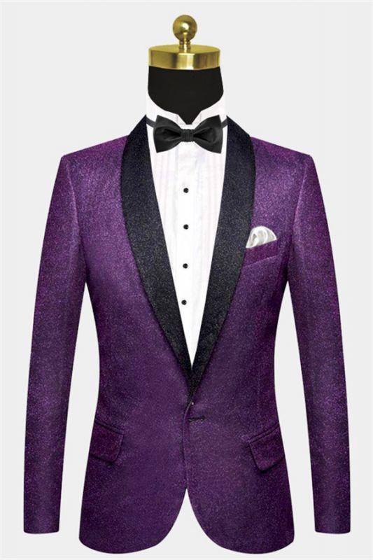 Sparkly Purple Sequins Blazer Online | One Piece Shiny Prom Suits