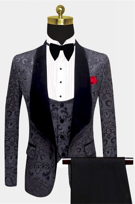 Tailored Black Jacquard Men Suits with 3 Pieces | Unique Dinner Suits for Prom