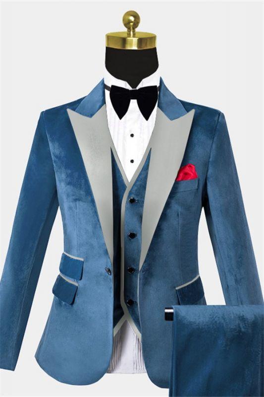 Cerulean Blue Velvet Tuxedo   Three Pieces Mens Skinny Fit Suits