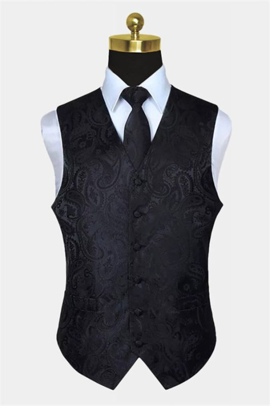 Black Paisley Mens Vest Set for Prom