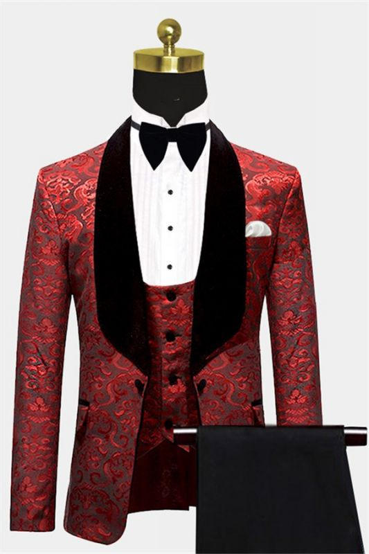 Damask Red Floral Prom Suits | Three Pieces Shawl Lapel Tuxedo Online