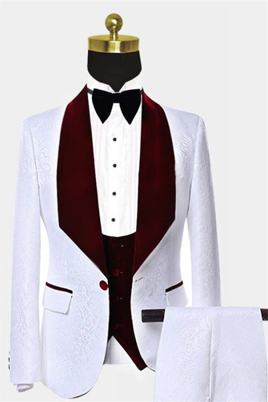 White Jacquard Men Suits with Burgundy Lapel | Floral Tuxedo