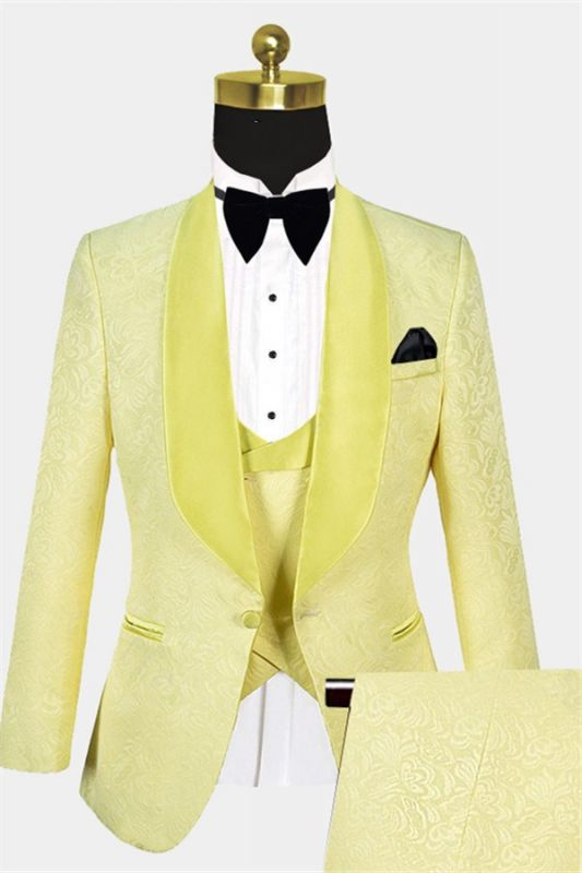 Tailored Yellow Jacquard Men Suits | Three Pieces Shawl Lapel Tuxedo